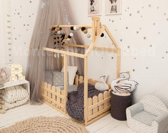 Children bed, toddler bed, house bed, tent bed, wooden house, wood house, wood nursery, teepee bed wood house bed wood bed frame kids teepee