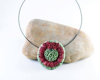 Choker necklace, Polymer clay, Personalized jewelry, Gift for her, Bohemian flower necklace, Handmade jewelry, , Mothers day gift, Rustic
