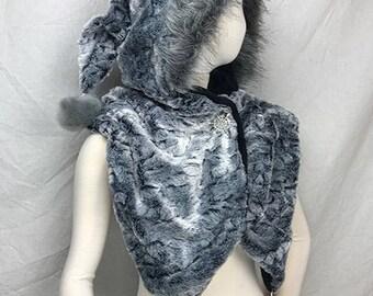 Faux Fur Shawl Hooded Scarf