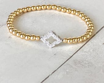 Gold Filled Bead Ball Bracelet with Sterling Silver and CZ Dimond Shaped Connector, 14K Gold Filled Jewelry, Gold Filled Stretch Bracelets