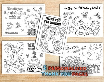 Dr. Seuss THANK YOU Coloring pages / Personalized / Printable / Birthday/ Digital / PDF