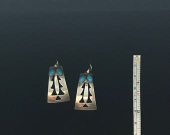 Sterling Silver Earrings Navaho Turquoise