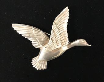 Sterling Silver Duck Brooch