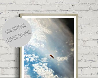 Parachute Poster, Paraglide Poster, Sky Poster, Large Poster, Wall Art, Modern Minimal, Parachute Photography, Sky Photography, Fly Poster