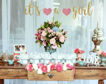 Captivating Its A GIRL Banner Choose Your Color Baby Shower Gender Announcement Nursery