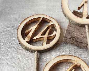 Wooden table numbers on sticks, wedding table number, rustic table number, wedding table signs, wood slice table number, boho wedding decor