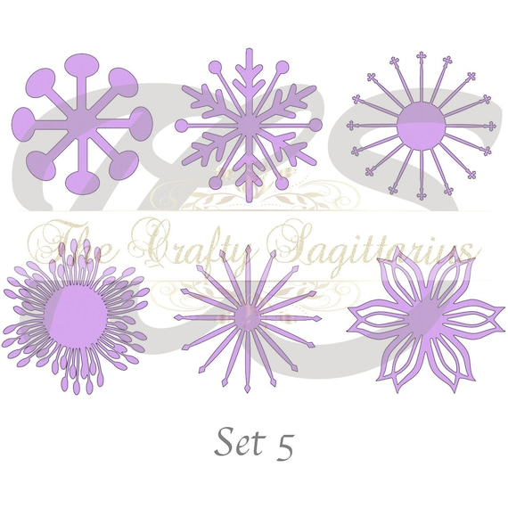 Svg Set 5 6 Different Flat Center For Paper Flowers Machine