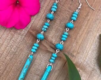 Turquoise Shoulder Dusters || Spike Earrings || Blue Earrings || Boho Chic Earrings