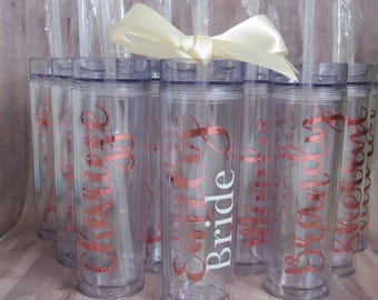 BULK 12 Customized Skinny Tumbler - Rose Gold Skinny Tumbler - rose gold tumbler - Bridal Party Gifts - Wedding Party Gifts - Christmas Gift