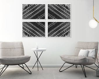 Extra Large Black and White Wall Decor, Large Forest Wall Art, Large Geometric Wall Decor, Large Abstract Prinable Wall Art, XL Printable