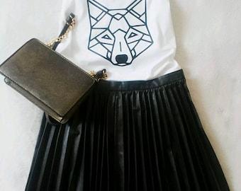 Geometric Wolf Print White Vest Top