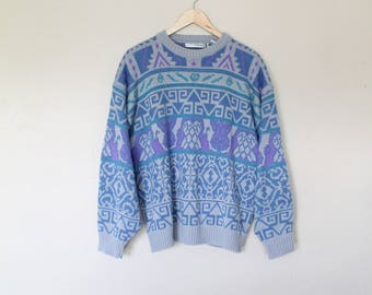 1990s Pastel Geometric Sweater