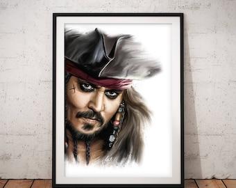 Captain Jack Sparrow, Johnny Depp, Pirates of the Caribbean, Artwork, Handmade, Printable Art, Poster, Instant Download, Digital Print,Decor