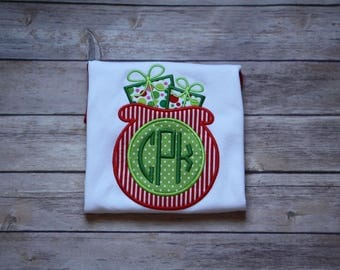 Monogram Appliqué Santa's Bag Christmas Shirt for Girl, Monogram Christmas Shirt, Monogram Christmas Sack Shirt, Santa's Bag Monogram Shirt