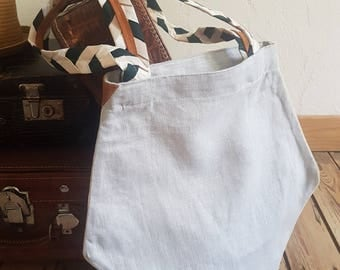 Tote bag / linen tote bag / Tote shoulder bag / hand braiding / traffic handles