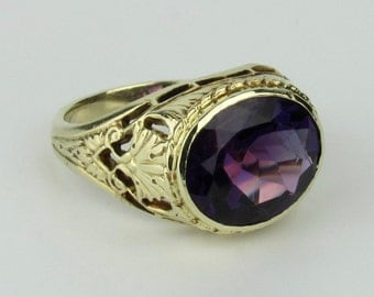 14K Antique Art Nouveau Amethyst Filigree Cocktail Ring