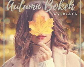 25 Autumn Bokeh Overlays,  Photoshop Overlays, Autumn Overlays, Bokeh Overlays, Lights Overlays, Autumn backdrop, Digital Bokeh Lights