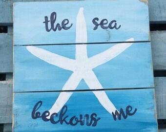 The sea beckons me, Sea Star Pallet Art, Reclaimed wood art, Starfish art, marine wall art, Coastal Decor