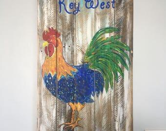 Key West Rooster Pallet Art, Reclaimed wood art, Bird art, Florida Keys Art, Coastal Decor