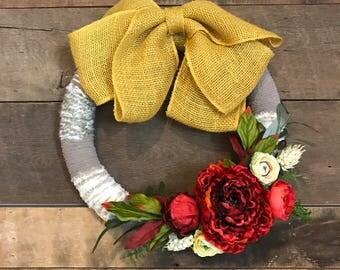 Mustard Yellow Topped Fall Wreath