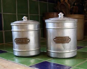 French sugar and coffee vintage jars aluminum metal