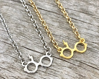 Harry Potter Glasses and Lightning Bolt Scar Inspired Necklace