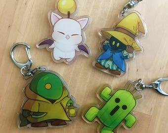 Final Fantasy Mascot Charms: Moogle / Vivi / Tonberry / Cactuar