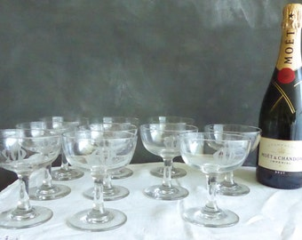 Set of 10 Vintage Clear Crystal Etched initials Champagne Coupes or Chocolate Mousse Cups or ice cream cups