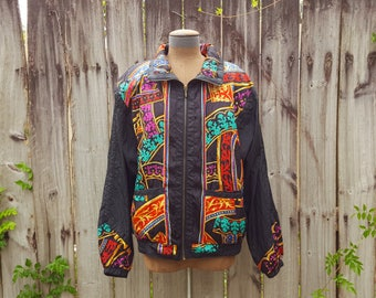 Vintage windbreaker / 80s windbreaker / rainbow wind breaker / colorful jacket / artsy zip up jacket / funky clothing / XL