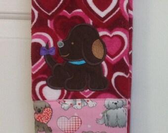 Valentine chocolate lab dish towel