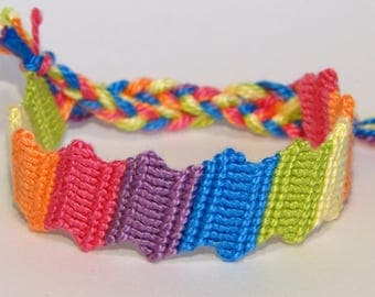 Friendship bracelet - rainbow nautical handwoven hippie ibiza braided macrame marine beach pride lgbtq bresilien