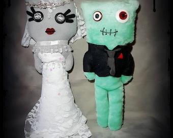 Bride and Groom - Alternative - Handmade - Gothic - Emo - Alternative - Stuffed Monster - Plush - Plushie.