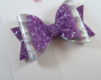 Purple Glitter Bow, Lilac Hairbow, Holographic Bow, Floral Hair Clip, Girls Hair Bow, Baby Headbands