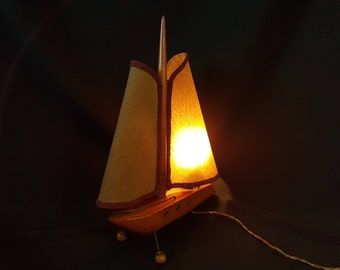 American Art Deco Wooden Boat Table Lamp