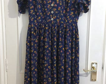 Vintage Rich Blue Country Floral Printed Dress with little yellow flowers
