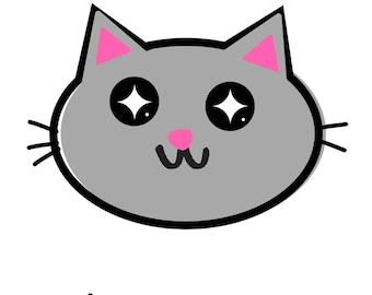 Cute Happy Gray Cat Emoji Graphic Art Design Wall Print 8.5inx11in