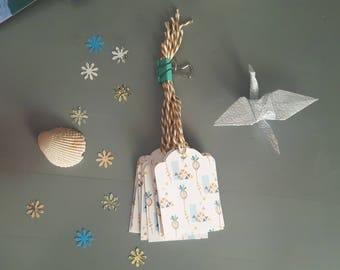 """Scandinavian flowers"" (set of 8) tags"