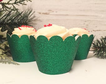 Glitter Cupcake Wrappers, Cupcake Wrappers, Glitter Cupcake Wrappers, Green Cupcake Wrappers, Holiday Party Decor, Dessert Table Decor
