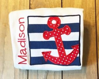 Applique Anchor Shirt, Anchor monogram shirt, Anchor name shirt, Summer Monogram shirt, Boat shirt, Anchor personalized shirt, Anchor shirt