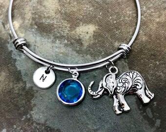 Elephant Stainless Steel Adjustable Bangle....Handmade Gift for her