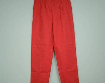 vintage red thin cotton pants with two pockets and zip flyer 38