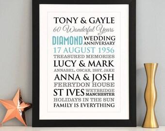 Personalised Diamond Wedding Anniversary Art