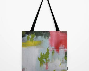Tote Bag with abstract painting imagery, many sizes available