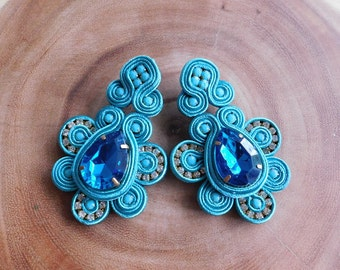 Soutache| Soutache earrings| Soutache Stud earrings| Stud Earrings| Royal Blue Earrings| Bridesmaids earrings| Soutache Jewelry| Earrings