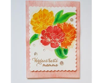 Watercolored flowers Mother's Day card