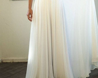 Yours and Mine Fall 2017 Women's Boehieim Ivory, White, Chiffon  Circle Skirt, Wedding, Holiday, Rustic, Vintage, Custom Made  USA Seller