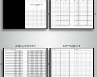 MONTHLY-DAILY planner 2018, #M-DB1 (a6 inserts printable, a6 tn inserts, a6 travelers notebook inserts printable, a6 planner inserts)