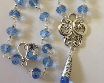 Blue necklace crystal necklace pendant necklace beaded necklace handmade necklace statement necklace