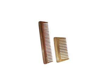 "Ginni wide tooth wooden combs - Combo of 2 Neem Wood Combs (detangler:regular size-7.5"" and small/baby detangler-4"" )for women, for men"
