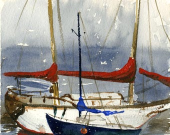Red Sail Covers Watercolor Painting - Art Print